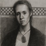 Miss Crandall Regrets (2010) charcoal on grey paper, 14 x 18 inches