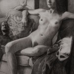 The Stand-In (2009) charcoal on grey paper, 16 x 20 inches, lost
